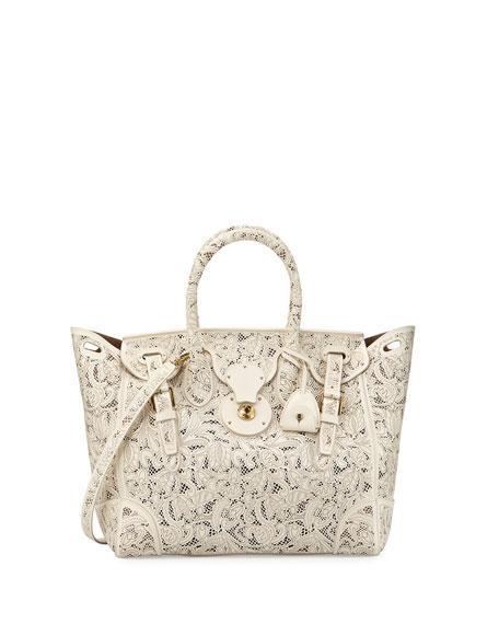 Soft Ricky 33 Lace-Cut Leather Satchel Bag, Cream
