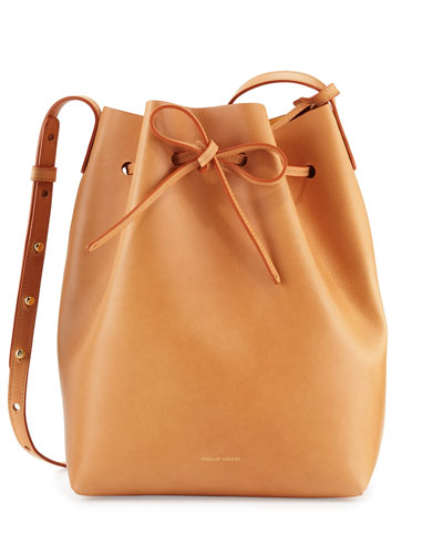 Vegetable-Tanned Leather Bucket Bag, Gold