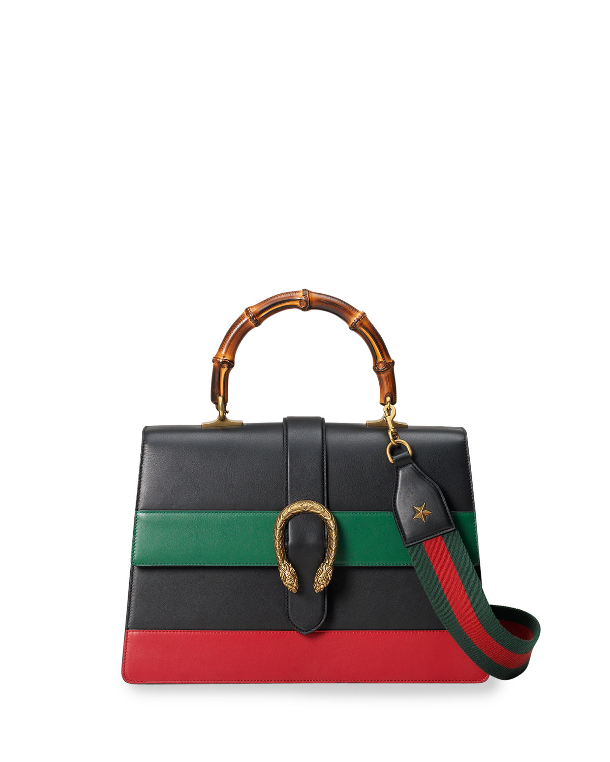 Gucci Dionysus Striped Bamboo Top,Handle Bag, Black/Green/Red