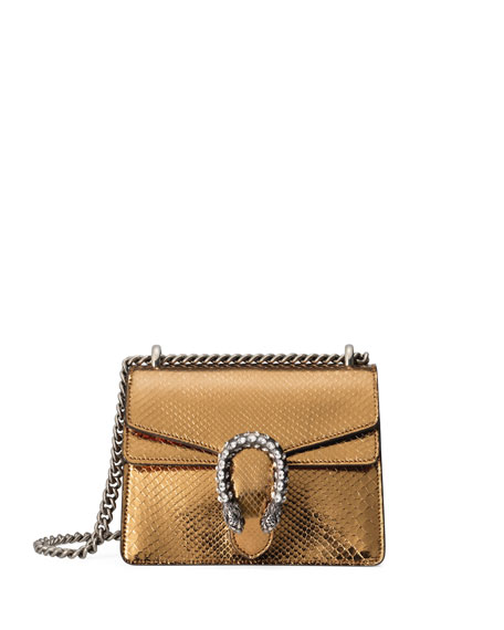 0dc9d2bf24c50d Gucci Dionysus Chain Mini Python Evening Bag, Gold/Black
