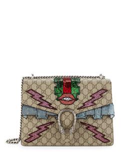 Dionysis Embroidered Supreme GG Shoulder Bag, Ebony/Taupe
