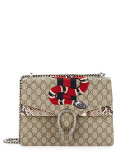 Dionysus Snake-Embroidered Supreme Shoulder Bag, Ebony/Roccia
