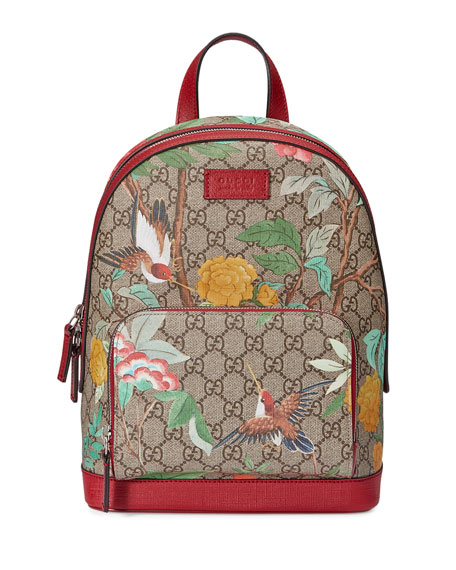 GG Supreme Tian Canvas Backpack, Beige/Red