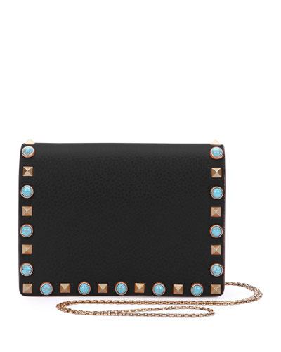 Rolling Rockstud Flap Pouch Bag/Wallet-on-Chain, Black