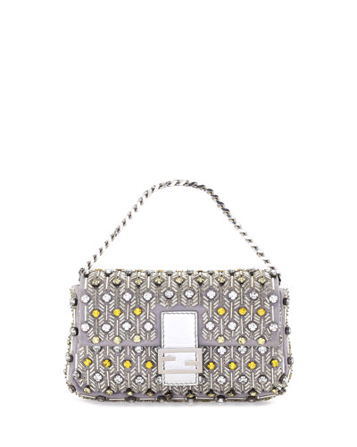 Baguette Micro Beaded Silk Shoulder Bag, Silver