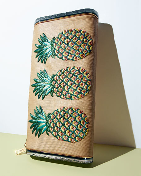Lara Raffia Pineapple Clutch Bag, Beige