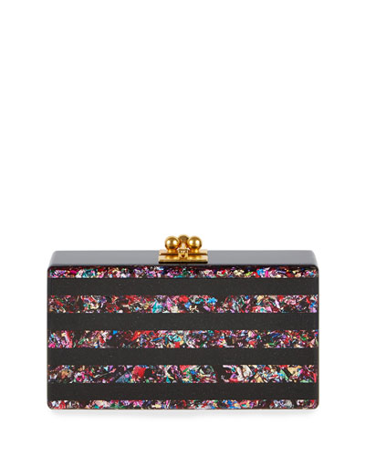 Jean Rainbow Confetti-Striped Box Clutch Bag