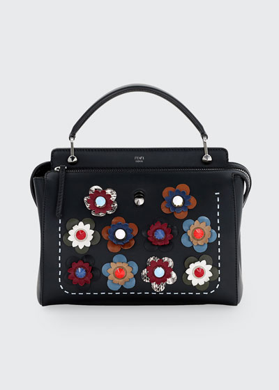 DOTCOM Medium Floral Leather Satchel Bag, Black