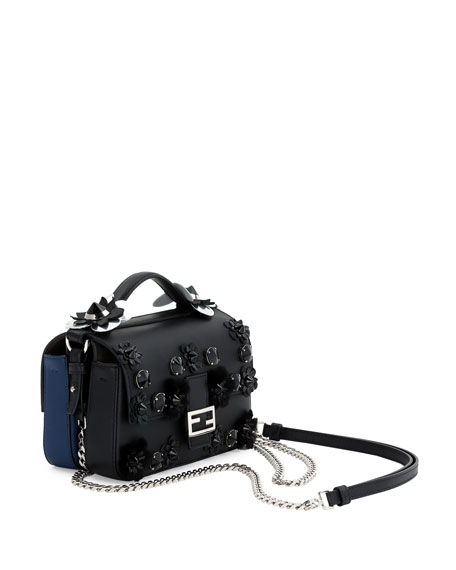 f2520ffe33a Baguette Micro Double-Sided Embellished Leather Bag Black/Blue/Palladium