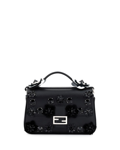 6b84790329 Fendi Baguette Micro Double-Sided Embellished Leather Bag