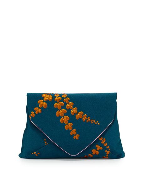 Lilly Jacquard Envelope Clutch Bag, Petrol