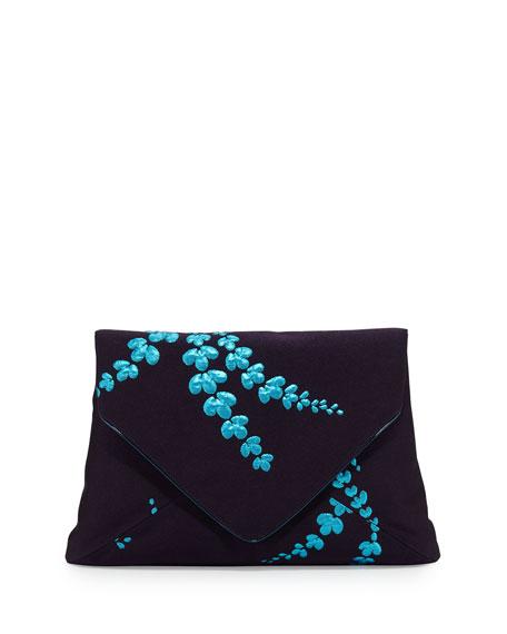 Lilly Jacquard Envelope Clutch Bag, Navy