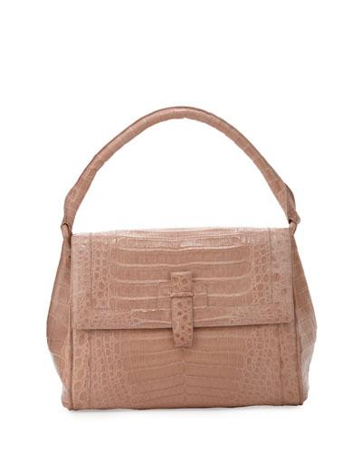 Flap-Top Crocodile Large Shoulder Bag, Nude