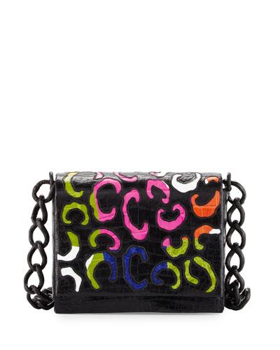 Laser-Cut Crocodile Shoulder Bag, Black/Shiny Rainbow