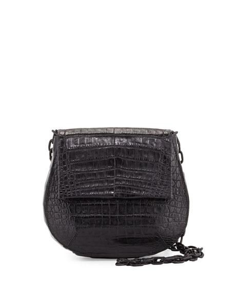 Crocodile Shoulder Saddle Bag, Black