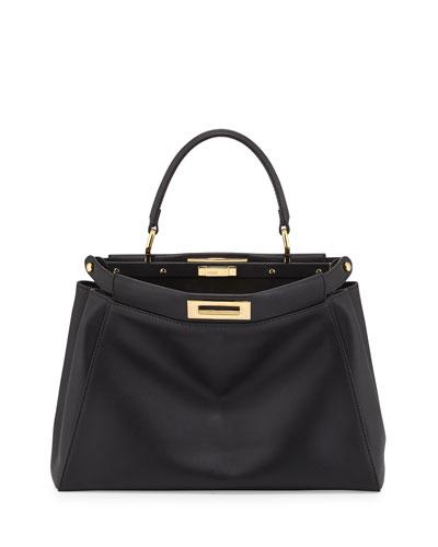 Peekaboo Leather Satchel Bag, Black