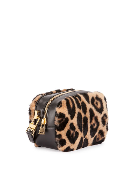 Leopard-Print Fur Cosmetic Case w/Crossbody Strap