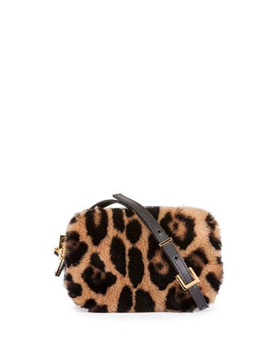 Leopard-Print Fur Cosmetic Case w/Crossbody Strap
