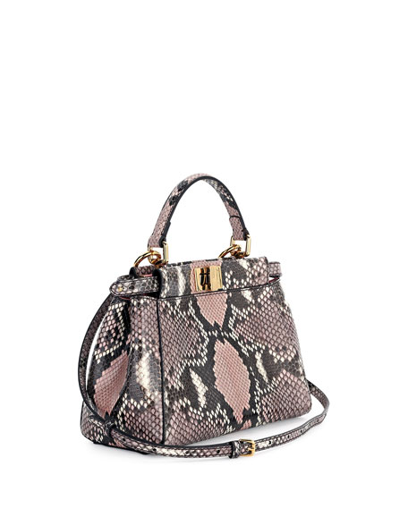 Peekaboo Mini Python Satchel Bag, Stone Pink