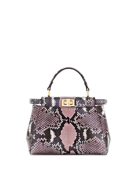 Fendi Peekaboo Mini Python Satchel Bag, Stone Pink