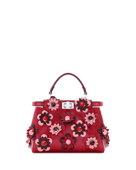 Peekaboo Mini Allover Flower Satchel Bag, Red