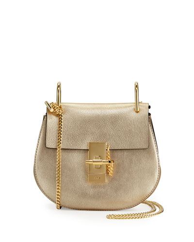Drew Mini Metallic Leather Crossbody Bag, Gold