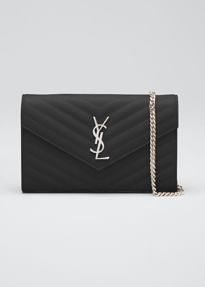 SAINT LAURENT Monogram Chain Wallet In Black Grain De Poudre ...