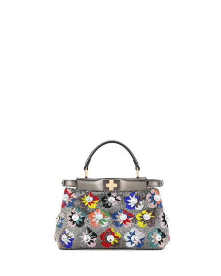 Fendi Peekaboo Mini Floral Beaded Satchel Bag caabbf4081083