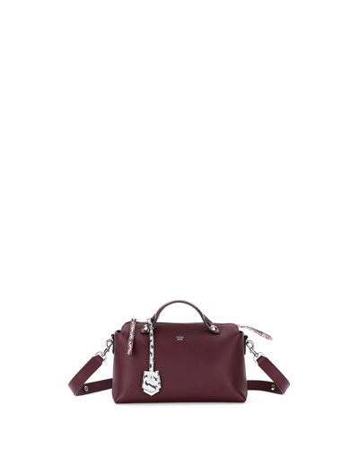 By the Way Small Leather & Snakeskin Satchel Bag, Burgundy