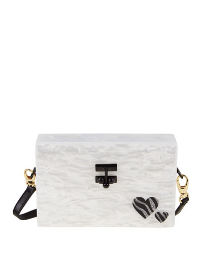 Small Trunk Zebra Hearts Clutch Bag, White