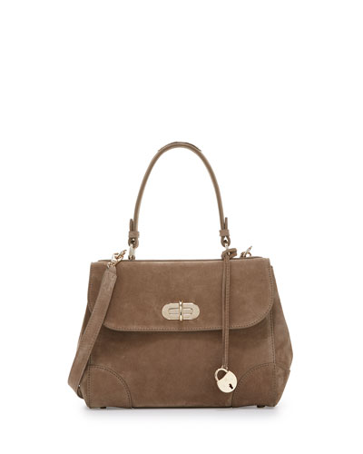 Tiffin 27 Suede Satchel Bag, Taupe