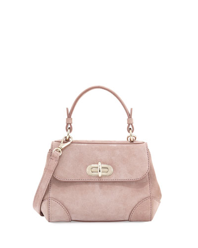 Mini Tiffin Suede Satchel Bag, Winter Rose