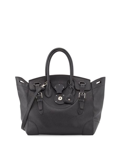 Soft Ricky 33 Calfskin Satchel Bag, Black