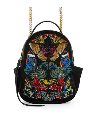 Small Embroidered Chain Backpack, Black/Multi