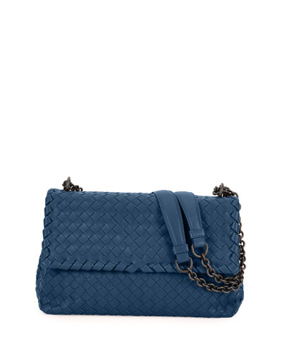 Olimpia Medium Intrecciato Shoulder Bag, Pacific Blue