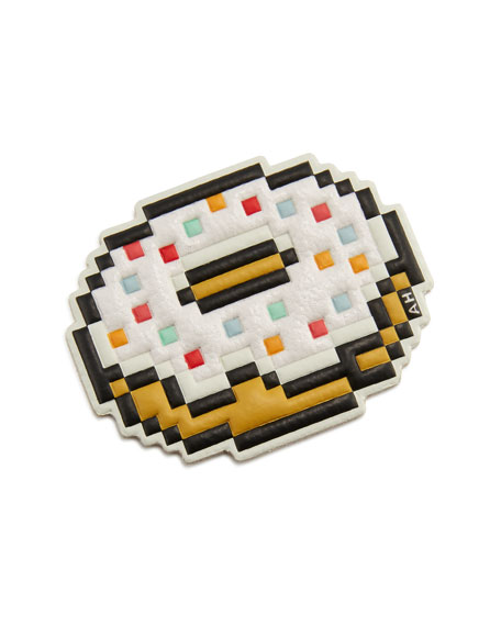 Pixel Doughnut Sticker for Handbag, White