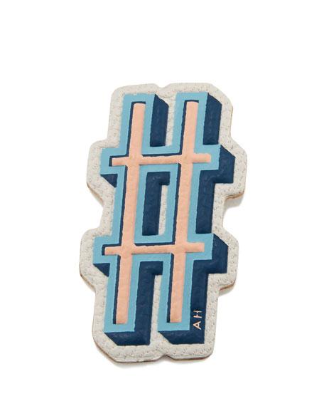 Anya Hindmarch Hashtag Leather Sticker for Handbag, Chalk