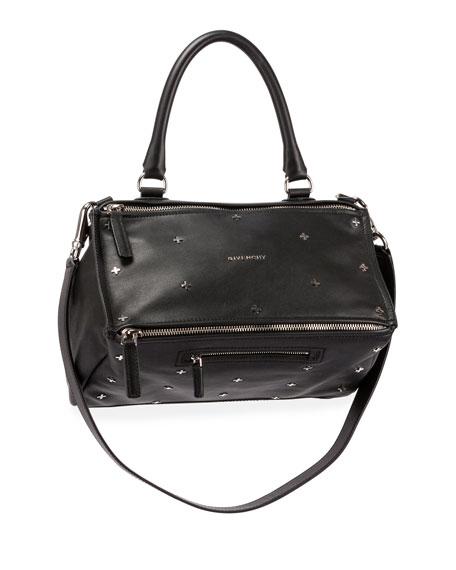 Pandora Mini Metal Cross-Studded Satchel Bag, Black