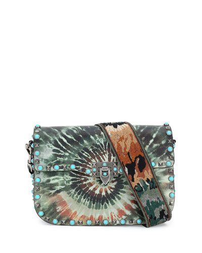Rockstud Rolling Medium Tie-Dye Guitar-Strap Shoulder Bag, Army Green