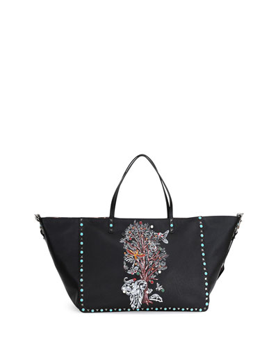 Tree of Life Large Reversible Tote Bag, Black Multi