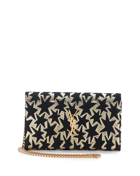 Saint Laurent Monogram Stars Flap Wallet-on-a-Chain, Gold/Black