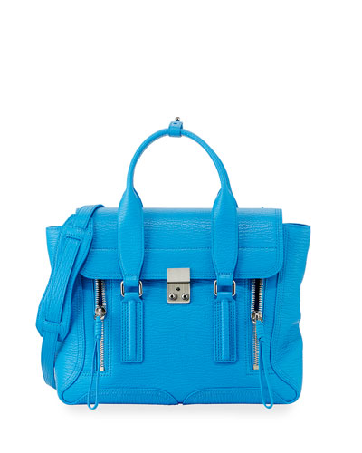 Pashli Medium Calf Satchel Bag, Cyan