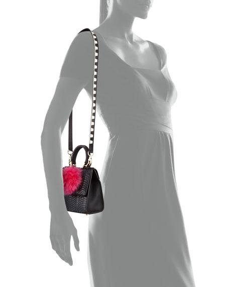 Micro Alex Snakeskin Bunny Bag with Fur Pom, Black/Pink