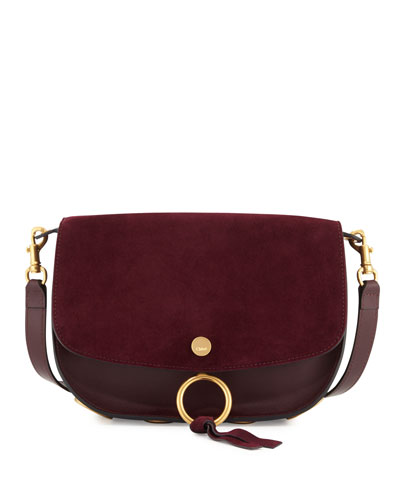 Kurtis Suede & Leather Shoulder Bag, Dark Purple