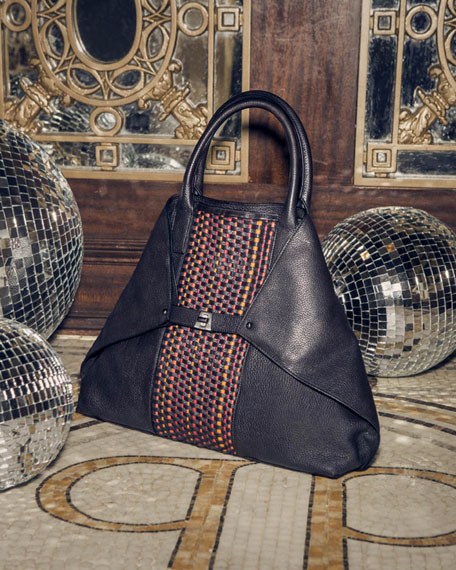 Ai Medium Woven Top Handle Bag, Multi