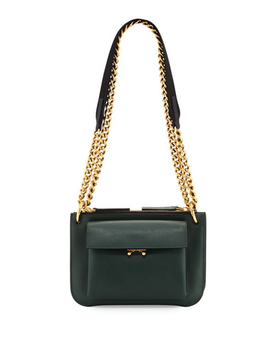 Bandoleer Leather Shoulder Bag, Green/Blue
