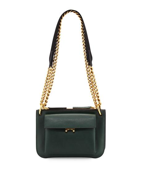 Bandoleer Leather Shoulder Bag, Green/Blue