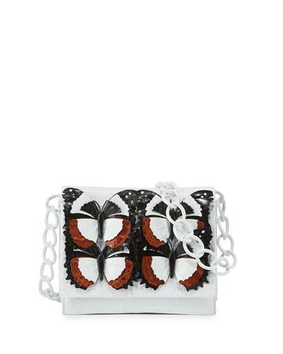 Gio Butterfly Crocodile Crossbody Bag, Black/Brown/White