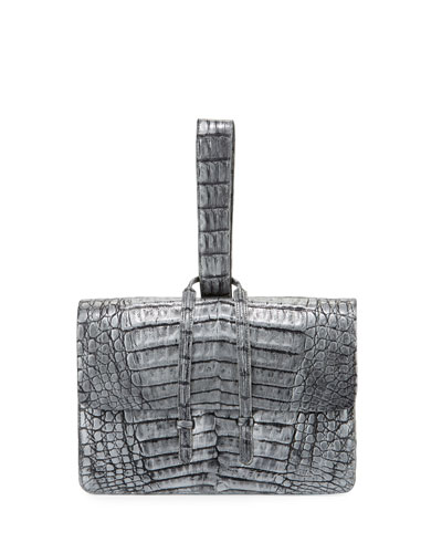Crocodile Looped Clutch Bag w/Wristlet Strap, Distressed Gray