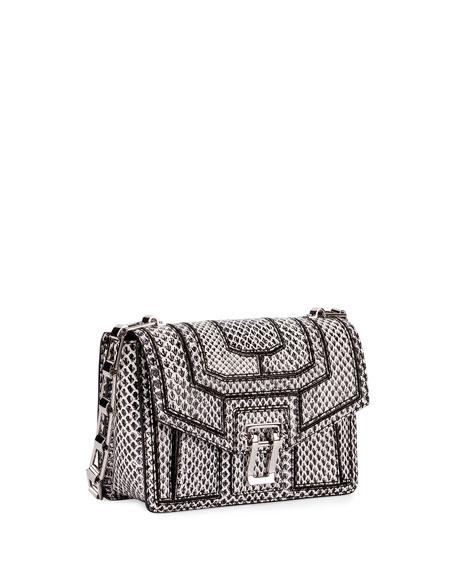 Hava Snake Patchwork Chain Shoulder Bag, Black/White